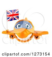 Clipart Of A 3d Orange Airplane Flying With A British Flag Royalty Free Illustration