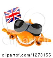 Clipart Of A 3d Orange Airplane Wearing Sunglasses Givint A Thumb Up And Flying With A British Flag Royalty Free Illustration