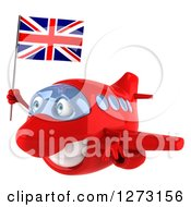 Clipart Of A 3d Red Airplane Flying To The Left With A British Flag Royalty Free Illustration