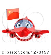 Clipart Of A 3d Red Airplane Flying With A Chinese Flag Royalty Free Illustration