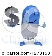 3d Happy Blue And White Pill Character Holding A Thumb Up And Dollar Symbol