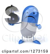 Clipart Of A 3d Unhappy Blue And White Pill Character Holding And Pointing At A Dollar Symbol Royalty Free Illustration