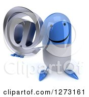 Clipart Of A 3d Happy Blue And White Pill Character Holding Up An Email Arobase Symbol Royalty Free Illustration