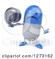 Clipart Of A 3d Unhappy Blue And White Pill Character Shrugging And Holding An Email Arobase Symbol Royalty Free Illustration