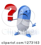 Clipart Of A 3d Unhappy Blue And White Pill Character Shrugging And Holding A Question Mark Royalty Free Illustration