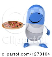 Clipart Of A 3d Happy Blue And White Pill Character Holding A Pizza Royalty Free Illustration