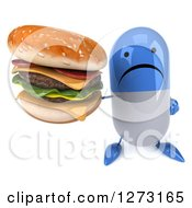 Clipart Of A 3d Unhappy Blue And White Pill Character Holding Up A Double Cheeseburger Royalty Free Illustration
