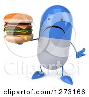 Clipart Of A 3d Unhappy Blue And White Pill Character Shrugging And Holding A Double Cheeseburger Royalty Free Illustration