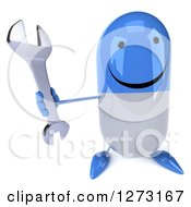 Clipart Of A 3d Happy Blue And White Pill Character Holding Up A Wrench Royalty Free Illustration