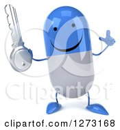 Clipart Of A 3d Happy Blue And White Pill Character Holding Up A Finger And A Key Royalty Free Illustration