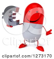 Clipart Of A 3d Happy Red And White Pill Character Shrugging And Holding A Euro Symbol Royalty Free Vector Illustration
