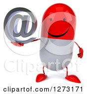 Clipart Of A 3d Happy Red And White Pill Character Holding An Email Arobase Symbol Royalty Free Vector Illustration