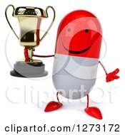 Clipart Of A 3d Happy Red And White Pill Character Shrugging And Holding A Trophy Royalty Free Vector Illustration
