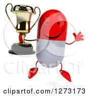 Clipart Of A 3d Happy Red And White Pill Character Jumping And Holding A Trophy Royalty Free Vector Illustration