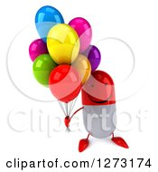 Clipart Of A 3d Happy Red And White Pill Character Holding Up Party Balloons Royalty Free Vector Illustration