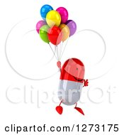 Clipart Of A 3d Happy Red And White Pill Character Facing Right And Floating With Party Balloons Royalty Free Vector Illustration