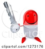 Clipart Of A 3d Happy Red And White Pill Character Holding Up A Key Royalty Free Vector Illustration
