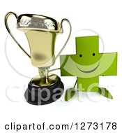 Clipart Of A 3d Happy Green Pharmaceutical Cross Character Holding Up A Trophy Royalty Free Illustration