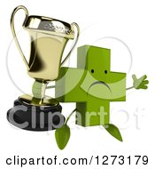 Clipart Of A 3d Unhappy Green Pharmaceutical Cross Character Facing Slightly Right Jumping And Holding A Trophy Royalty Free Illustration