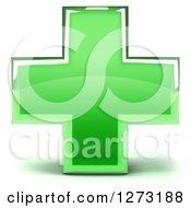 3d Green Glass Medical Cross