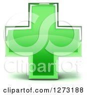 Clipart Of A 3d Green Glass Medical Cross Royalty Free Illustration
