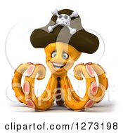Clipart Of A 3d Happy Orange Pirate Octopus Royalty Free Illustration