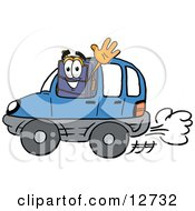 Clipart Picture Of A Suitcase Cartoon Character Driving A Blue Car And Waving