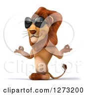 Clipart Of A 3d Lion Wearing Sunglasses Facing Slightly Left And Meditating Royalty Free Illustration