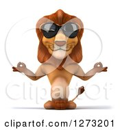 Clipart Of A 3d Lion Wearing Sunglasses And Meditating Royalty Free Illustration