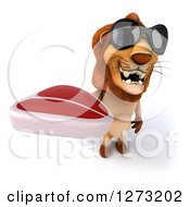 Clipart Of A 3d Lion Wearing Sunglasses And Holding Up A Steak Royalty Free Illustration