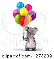 Clipart Of A 3d Koala Holding Party Balloons Royalty Free Illustration