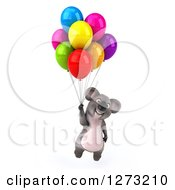 Clipart Of A 3d Koala Floating With Party Balloons Royalty Free Illustration