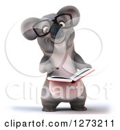 Clipart Of A 3d Bespectacled Koala Libarian Holding And Pointing To An Open Book Royalty Free Illustration