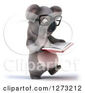 Clipart Of A 3d Bespectacled Koala Libarian Walking And Reading A Book Royalty Free Illustration