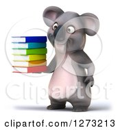 Clipart Of A 3d Koala Facing Slightly Left And Holding A Stack Of Books Royalty Free Illustration
