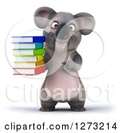 Clipart Of A 3d Koala Holding And Pointing At A Stack Of Books Royalty Free Illustration