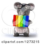 Clipart Of A 3d Bespectacled Koala Libarian Carrying Books Royalty Free Illustration