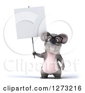 Clipart Of A 3d Bespectacled Koala Holding A Blank Sign Royalty Free Illustration