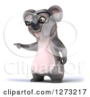 Clipart Of A 3d Bespectacled Koala Pointing To The Left Royalty Free Illustration