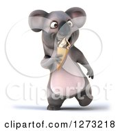 Clipart Of A 3d Koala Walking And Eating A Waffle Ice Cream Cone Royalty Free Illustration