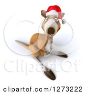 Clipart Of A 3d Christmas Kangaroo Facing Slightly Left And Looking Up Royalty Free Illustration