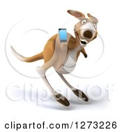 Clipart Of A 3d Kangaroo Hopping And Holding A Smart Phone Royalty Free Illustration