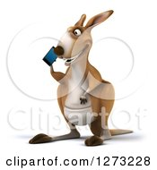 Clipart Of A 3d Kangaroo Facing Slightly Left And Talking On A Smart Phone Royalty Free Illustration