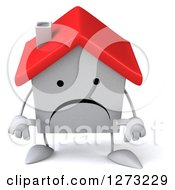 Clipart Of A 3d Unhappy White House Character Pouting Royalty Free Illustration by Julos