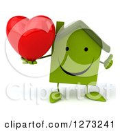 Clipart Of A 3d Happy Green House Character Holding A Thumb Up And A Heart Royalty Free Illustration