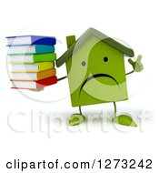 Clipart Of A 3d Unhappy Green House Character Holding Up A Finger And A Stack Of Books Royalty Free Illustration