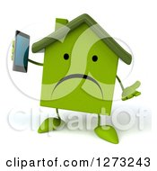 Clipart Of A 3d Unhappy Green House Character Shrugging And Talking On A Smart Phone Royalty Free Illustration