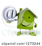 Clipart Of A 3d Happy Green House Character Holding An Email Arobase Symbol Royalty Free Illustration by Julos