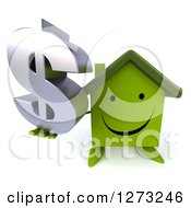 Clipart Of A 3d Happy Green House Character Holding Up A Dollar Symbol Royalty Free Illustration by Julos