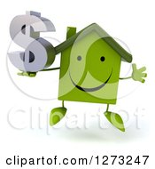 Clipart Of A 3d Happy Green House Character Jumping And Holding A Dollar Symbol Royalty Free Illustration by Julos
